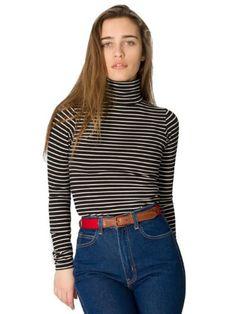 American Apparel Stripe Cotton Spandex Jersey Long Sleeve Turtleneck Medium Black Natural Stripe