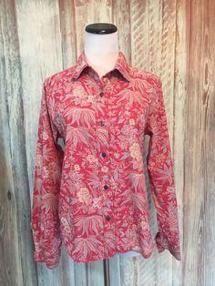 Ralph Lauren Polo Jeans Co Red Floral Shirt Cotton Button Down LS sz M  EUC! #PoloRalphLauren #ButtonDownShirt