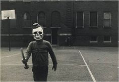 I get such a kick out of this Emmet Gowin photograph. I know skull masks are supposed to be scary, but throwing in the tiny top-hat will always have me rolling on the floor laughing.  Via: Sotheby's