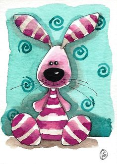 """The Pink Bunny"" by Lucia Stewart an Original Fun ACEO Watercolor Artwork Painting on quality 300gsm card & is accompanied by a Certificate of Authenticity - Size: 2.5"" x 3.5"" from 'stressiecat' on Etsy★❤★"