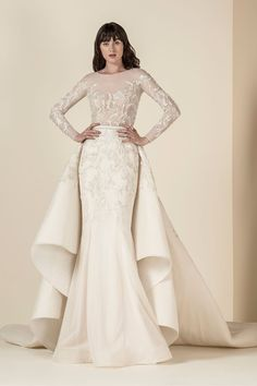 SAIID KOBEISY Wedding Dresses 2019 - Spring 2019 Bridal Collection Bridal Wedding Dresses long sleeves wedding dress with attachable skirt Anne Barge, Claire Pettibone, V Neck Wedding Dress, Long Sleeve Wedding, Wedding Skirt, Stunning Wedding Dresses, Bridal Wedding Dresses, Wedding Attire, Jenny Packham