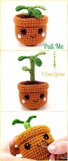 Crochet Pull and Grow Amigurumi Plant Free Pattern - Crochet Plant Free Patterns