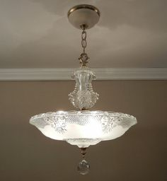 "Antique Light Chandelier 1930-40's Vintage Crystal Frosted Glass Ceiling Light Fixture 14.5"" Rewired"