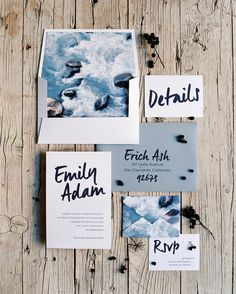 Invitation suite inspired by the ocean! Design and styling by Brancoprata…