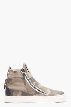 Giuseppe Zanotti Grey Leather Camo High top Sneakers