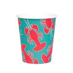 Super cool style lobster cups, designed by My Little Day. These cups are perfect for a summertime-themed birthday, pool party, a family BBQ or a garden party with friends! Size: in height / in diameter. Contains 8 premium paper cups.