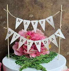 "Birthday cake topper...""HAPPY BIRTHDAY"" pennant banner for your rustic woodland look informal birthday cake >>> Visit the image link more details. (Amazon affiliate link)"