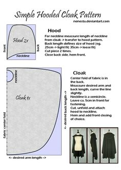 Simple Hooded Cloak Pattern by ~Nenesta I want to take op sewing and I guess making this hood will be one of the first things I will try to make myself. I need it anyway to wear with a cloak for a historical inspired outfit. Diy Clothing, Sewing Clothes, Clothing Patterns, Sewing Patterns, Cape Sewing Pattern, Shrug Pattern, Sewing Hacks, Sewing Tutorials, Sewing Crafts