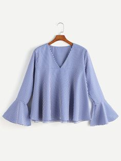 Shop V Neckline Fluted Sleeve Gingham Top online. SHEIN offers V Neckline Fluted Sleeve Gingham Top & more to fit your fashionable needs. Bell Sleeve Blouse, Bell Sleeves, Fashion Clothes, Fashion Outfits, Spring Shirts, Ladies Dress Design, Types Of Sleeves, Chiffon Tops, Gingham