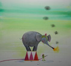 Bij ons in het circus (Koos Meinderts & Annette Fienieg), Lemniscaat 2013 Beautiful Artwork, Parrot, Elephant, Bird, Painting, Animals, Parrot Bird, Animales, Animaux