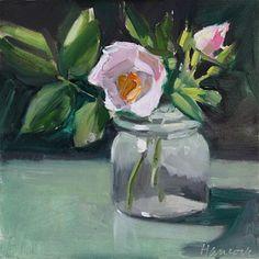 "Daily Paintworks - ""Roses, Short Glass Jar"" - Original Fine Art for Sale - © Gretchen Hancock"