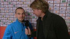 Wesley Sneijder praat met interviewer Hans Kraay jr