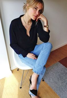 Pernille Teisbaek // low bun, layered necklaces, button down shirt, cropped jeans and slingback heels