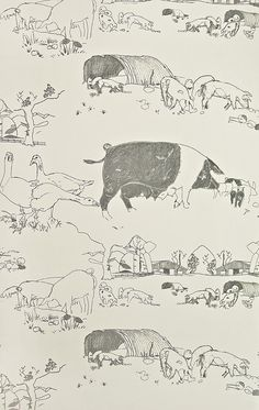Very light cream wallpaper with illustrated pigs and farm scenes in black.    Width52 cms x 10 metres  Pattern RepeatApprox 53cm  CareSpongeable