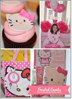 Hello Kitty birthday party ideas, hello kitty party decorations, hello kitty cupcakes, and hello kitty party favors via @frostedevents