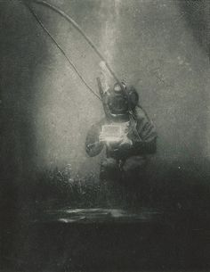 Louis Boutan. Oceanographer and biologist Emil Racoviță equipped with a standard diving dress photographed underwater. Banyuls-sur-Mer, south of France, 1899
