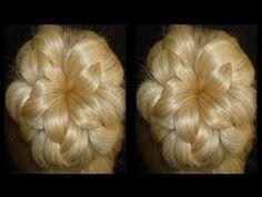"""Прическа """"Пучок-цветок"""" из волос. Причёски для средних, длинных волос - YouTube"""