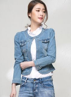 Female Casual Denim Jacket Bomber Jacket Solid Color Stitching
