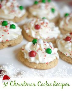 31 Christmas Cookie Recipes  It's not Christmas quite yet, but these cookies can be easily changed up to match your holiday! For Halloween you could use orange and black colorings, Thanksgiving/Fall would be orange and browns, you get the idea! The best part of the holiday season is the cookies!! Many of these can be made gluten free too with a simple switch of flours. Click through for the recipes! Mommy Hates cooking