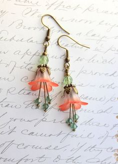 Coral Red Lucite Flower Earrings Bell flowers