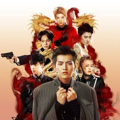 exo kris lay xiumin chen tao luhan fanart exo-m mafia!au edit where Kris is the leader of chinese organized crime group Mafia, Exo Xiumin, Kpop Exo, Exo Ot12, Kris Wu, Mascarillas Peel Off, Detective, 5 Years With Exo, Fanart Bts