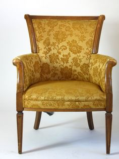 1950 Gold Floral Brocade Print Chair. $92.00, via Etsy.