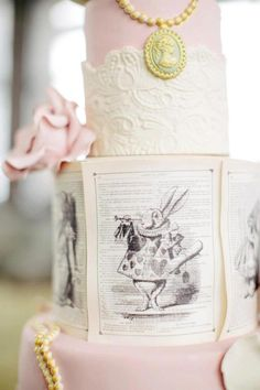 Gorgeous cake at a Chic Alice in Wonderland Wedding with Lots of REALLY CUTE Ideas via Kara's Party Ideas | Kara'sPartyIdeas.com #MadHatter #Chic #Party #wedding #cake #aliceinwonderland  #wedding #weddingcake #weddingideas #stunningdesign #love #bestoftheday #weddingideas #whimsical #cmyevents Planning your wedding in London? Visit us on www.cmevents.co.uk