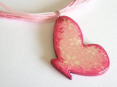 Wooden Butterfly Necklace  PINK FLOWERED  by verdesedano on Etsy
