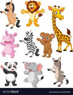 Vector illustration of wild animals cartoon collection set royalty Cartoon Drawings Of Animals, Cartoon Fish, Cute Cartoon, Cartoon Art, Cartoon Zoo Animals, Rare Animals, Jungle Animals, Animals And Pets, Funny Animals