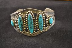 Southwestern style bracelet silver and turquoise look bracelet silver cuff IH910  - pinned by pin4etsy.com