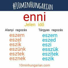Learn a bit of Hungarian today!   ENNI - to eat  Visit facebook.com/10minHungarian for more information about the use of this irregular verb.