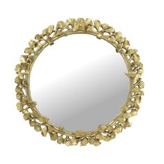 Gold Ginko Leaf Round Mirror - CuriousEgg