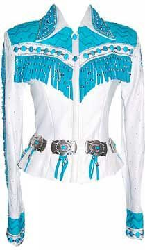 Turquoise, Silver & White Jacket by Paula's Place Item Number: 619 gorgeous! but idk what I'd wear it for Rodeo Outfits, Western Outfits, Western Wear, Cool Outfits, Western Riding, Fashion Outfits, Rodeo Queen Clothes, Western Show Clothes, Horse Show Clothes