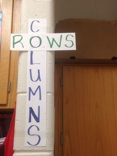 Clever way to remember rows and columns Teaching Secondary, Teaching Math, Teaching Ideas, Fourth Grade Math, Second Grade Math, Math Strategies, Math Resources, Classroom Ideas, Math Classroom Decorations
