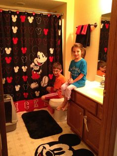 "Our fun disney bathroom! The kids wanted to do an ""our house goes disney"" episode of their own!"