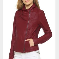 Vince Leather Jacket Never worn, perfect condition. Size XS - fits XS to S. Stretch side panels. Classic Vince scuba style in Oxblood red. Butter soft leather. Vince Jackets & Coats