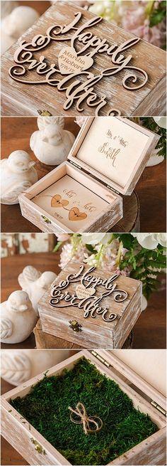Adorable wooden wedding ring bearer pillow box from @4LOVEPolkaDots