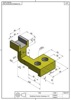 Ölçülendirilmiş Perspektif Resim Örnekleri | Makine Eğitimi Mechanical Engineering Design, Mechanical Art, Mechanical Design, Autocad Isometric Drawing, Isometric Drawing Exercises, Cad 3d, Orthographic Drawing, Solidworks Tutorial, Interesting Drawings