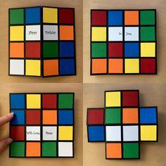 Rubik's cube infinity card - never ending card Never Ending Card, 3d Birthday Card, Birthday Cards For Boys, 12th Birthday, Boy Cards, Kids Cards, Fancy Fold Cards, Folded Cards, Pop Up