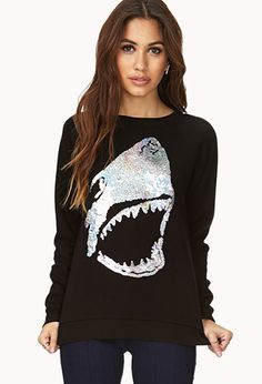 What is this greatness??? Shark Attack Sequined Sweatshirt | FOREVER21 - 2000072661