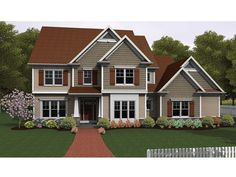 Colonial House Plan with 2616 Square Feet and 3 Bedrooms from Dream Home Source | House Plan Code DHSW075962