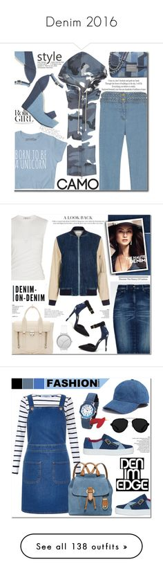 """""""Denim 2016"""" by yours-styling-best-friend ❤ liked on Polyvore featuring denim, Veronica Beard, ShoeDazzle, MICHAEL Michael Kors, 3.1 Phillip Lim, Armani Jeans, Paul Smith, Alexander Wang, Skagen and Tiffany & Co."""