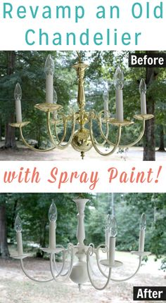 Here's how to spray paint an outdated chandelier to give it a fresh modern look. Here's how to spray paint an outdated chandelier to give it a fresh modern look. Spray Painted Chandelier, Brass Chandelier Makeover, White Chandelier, Antique Chandelier, Painting Chandeliers, Chandelier Ideas, Spray Paint Furniture, Diy Spray Paint, Spray Painting