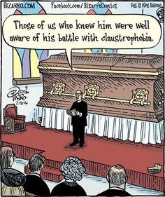 Funerals and death humor. Bizarro comics