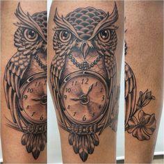 Tatuagem Coruja e relógio #coruja #owl #relogio #clock #tattoo