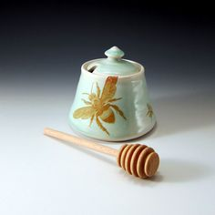 Celadon green glazed honey pot with bees buzzing by emily murphy pottery, $50.00
