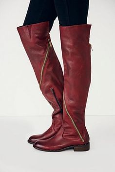 $99, Burgundy Leather Over The Knee Boots: Free People Stargazer Tall Boot. Sold by Free People. Click for more info: https://lookastic.com/women/shop_items/116667/redirect