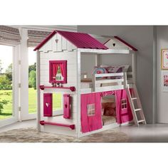 Buy the Donco Trading Sweetheart Bunk Loft Bed in White and Pink Finish at Kids Furniture Warehouse ; The 1580 TTLGB 1575 TP Sweetheart Bunk Loft Bed Girls Bunk Beds, Bed For Girls Room, Cool Kids Bedrooms, Twin Bunk Beds, Kid Beds, Twin Twin, Girls Bed Tent, Kid Bedrooms, Bedroom Kids