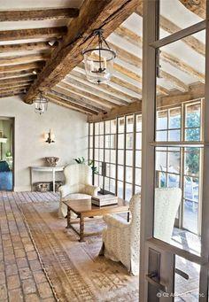 reclaimed beams and brick flooring. Farmhouse Interior, Farmhouse Style, Farmhouse Decor, Country Style, French Farmhouse, Rustic Decor, Farmhouse Plans, Country Decor, Farmhouse Flooring