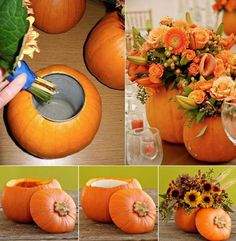 Fall decoration-- DIY pumpkin vase for your home .  Click here--> http://wonderfuldiy.com/wonderful-diy-making-a-bow-with-a-fork/